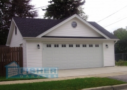 2.5 Car Garage with Gable and Reverse Gable Roof by Fisher Garages
