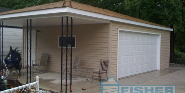 2.5 Car Garage with Hip Roof and Patio by Fisher Garages