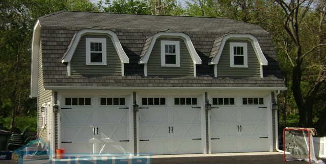 3 Car Garage with Reverse Gable Roof and Dormers by Fisher Garages